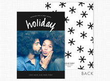 """Holiday"" Flat Shimmer Photo Christmas Cards"