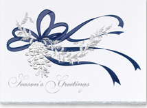 Pine Cone in Silver Christmas Greeting Card