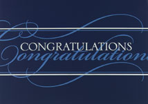 Congratulations! Blue and White Greeting Card